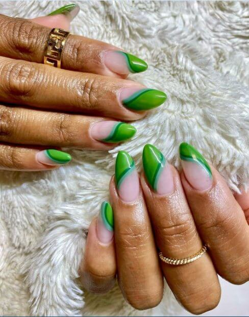 Almond Nails With Green Colors