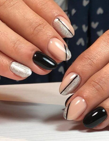16. Black and Silver Coffin Nails