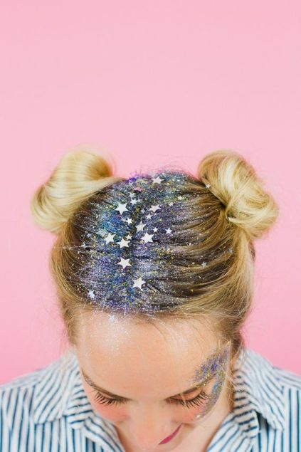 8. Space Buns with glitter