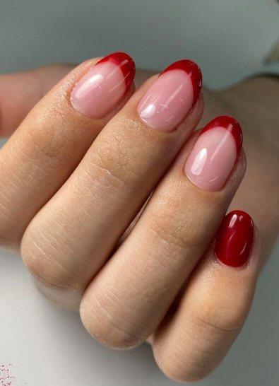 Dark red manicure