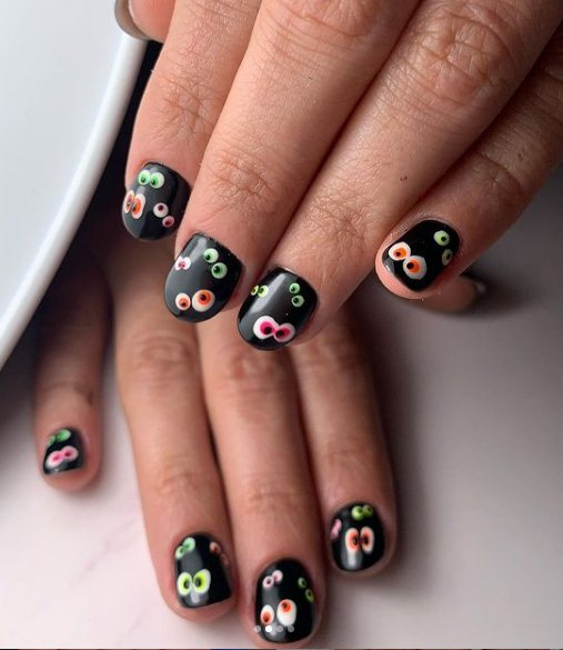 Black Nails With Eyes