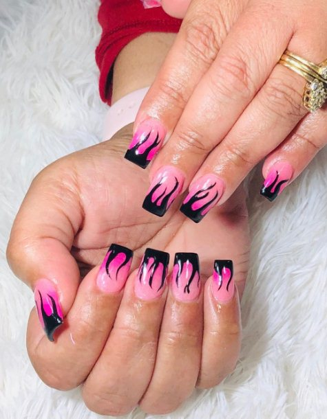 Ombre Nails with Flames