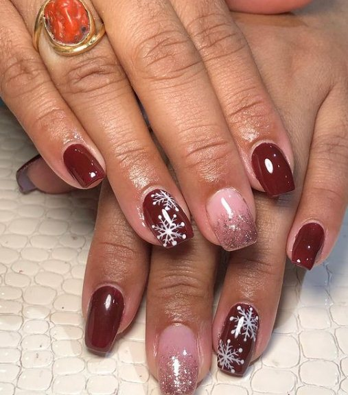 Red Manicure with Snowflake