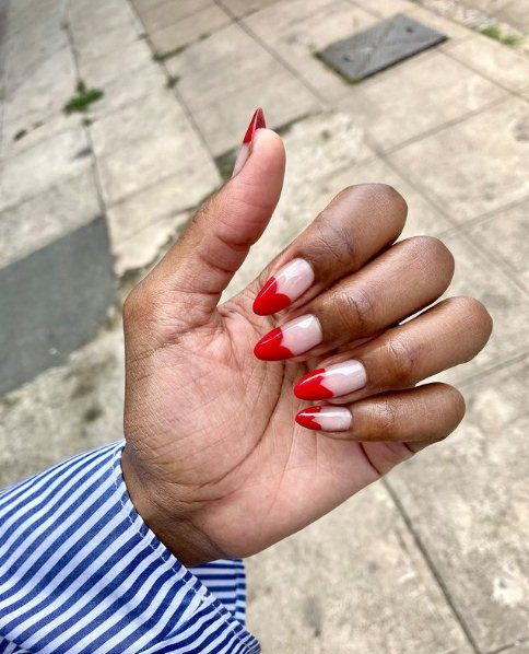 Red Nails with Heart Tips