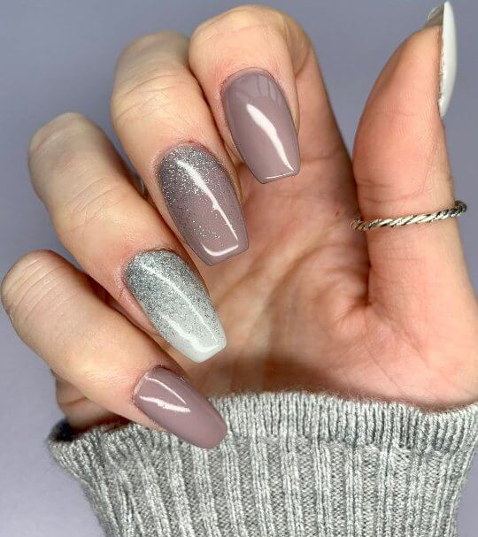 6. Silver Glitter Coffin Nails