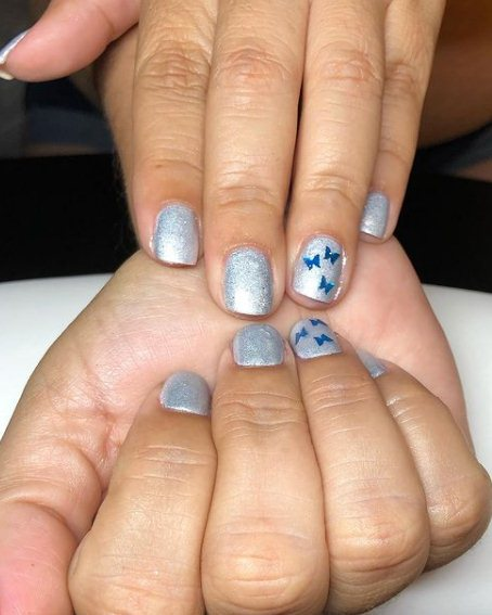 Silver and light blue nails