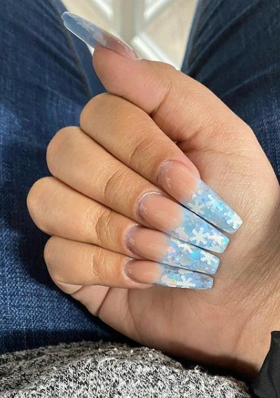 Snowflake french manicure nails