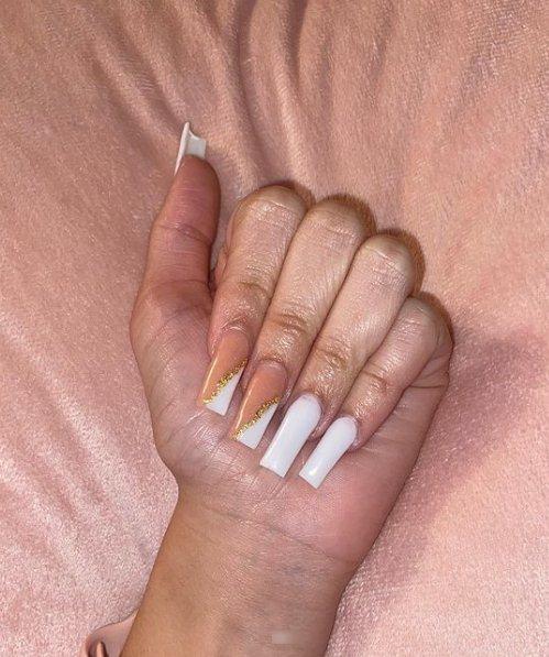 Long Glitzy Coffin Nails