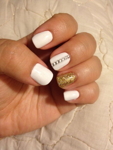4. Nails with Gold Rhinestones