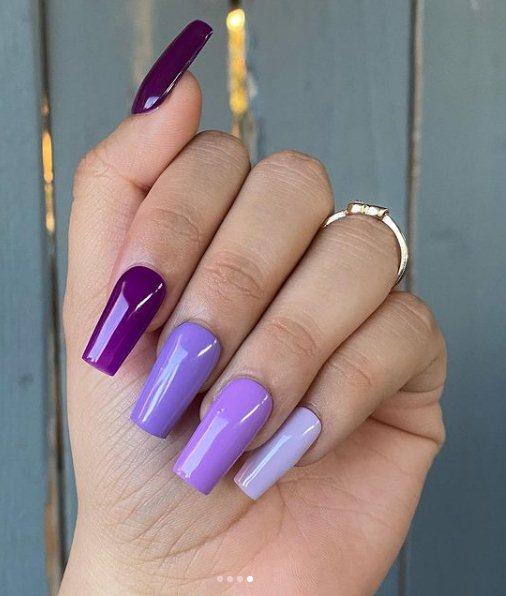 Pretty Purple Gradient Nails