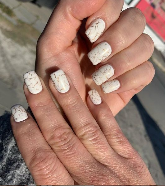 Unique Gold and White Nails