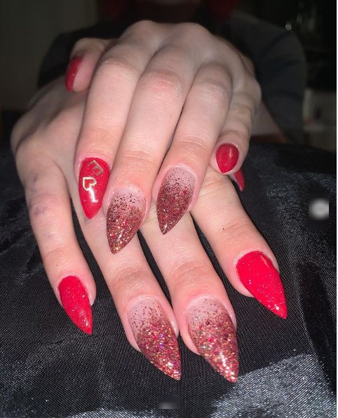 Glitzy and Glam Red Ombre Nails