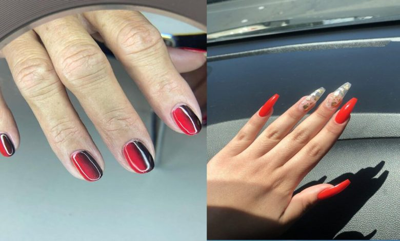 23 Attractive Red Ombre Nails With Butterfly For Spring 2021