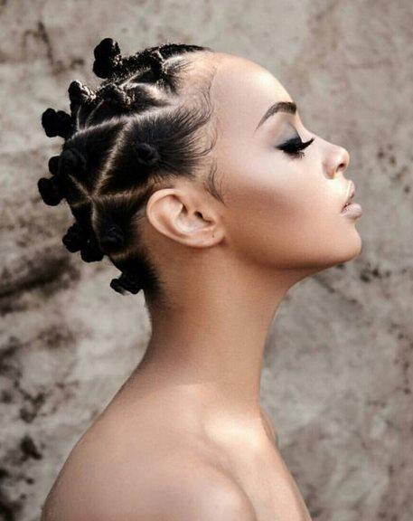Bantu knot on short hair