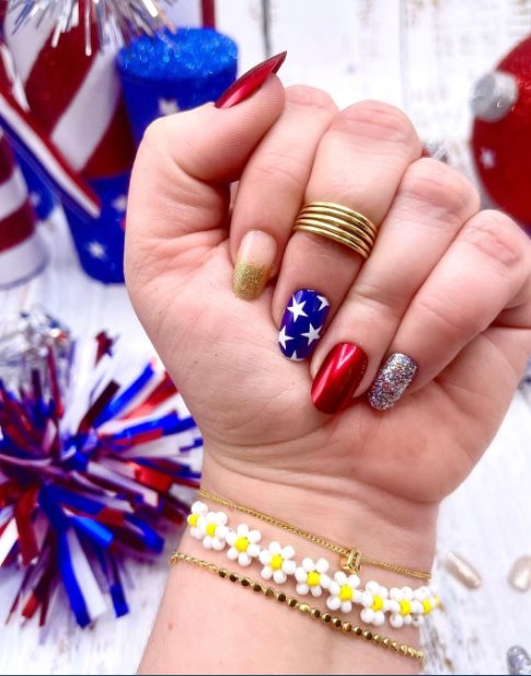 Funky Memorial Day Nails