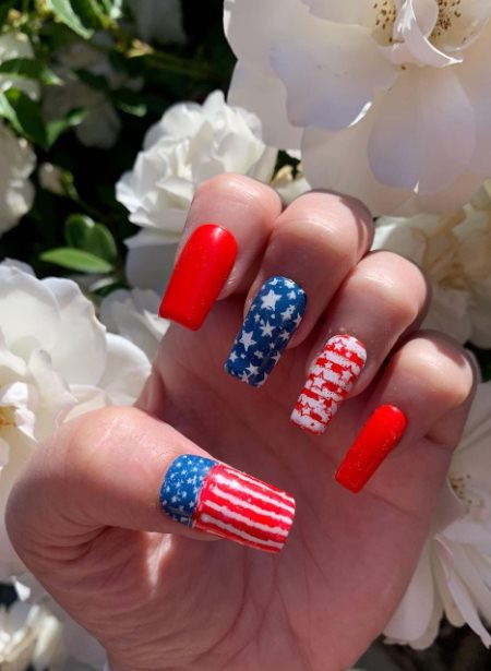 Red and blue Acrylic Nails