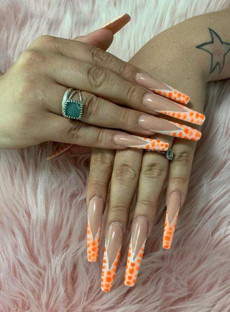 Bold orange acrylic nails