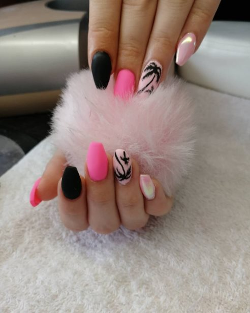 Chrome And Pink Ombre Nail