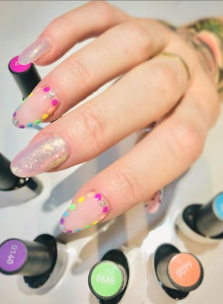 Confetti pride month nail art