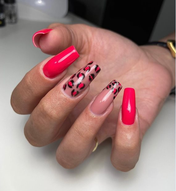 Pink manicure for brown skin
