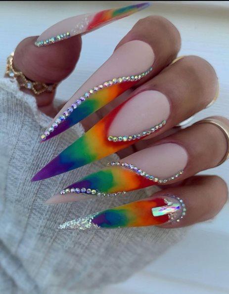 Pride Stiletto Nails