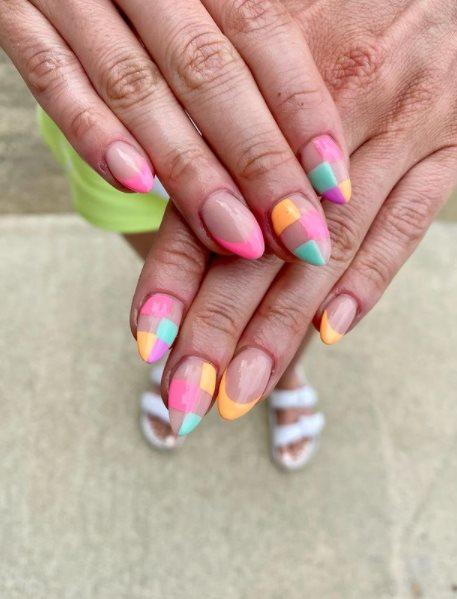 Rainbow Almond Pride Nails