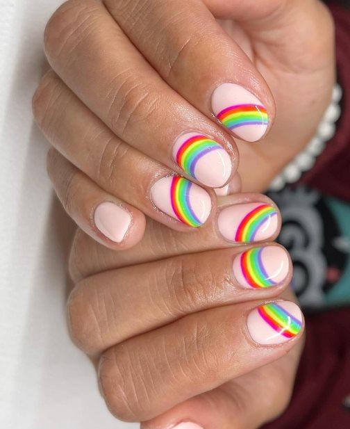 Rainbow short nails ideas 2021