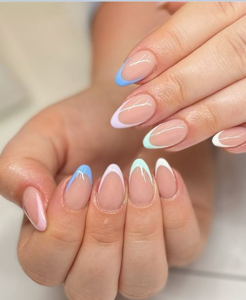 Pastel almond-shaped nails