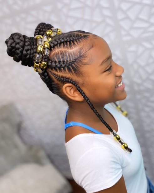 Space buns with Box braids