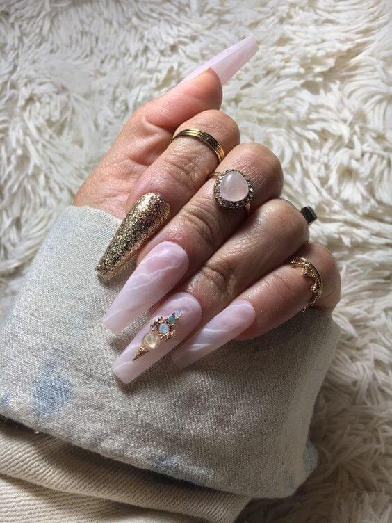 Natural nails with diamonds