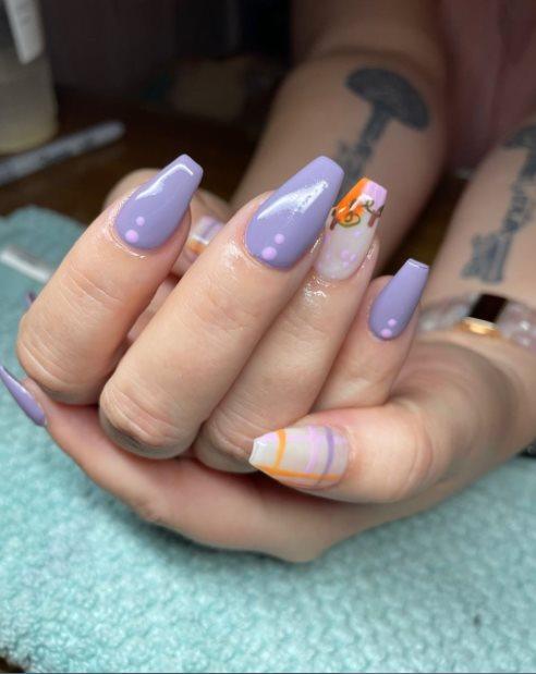 Pumpkin Halloween nail art design