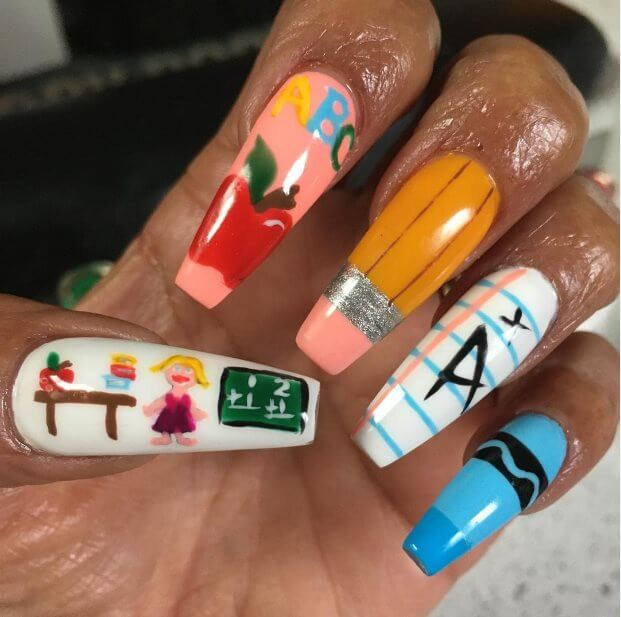 Easy back to school nails