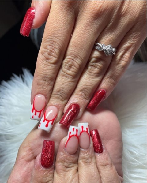 Glitter drip nails for Halloween
