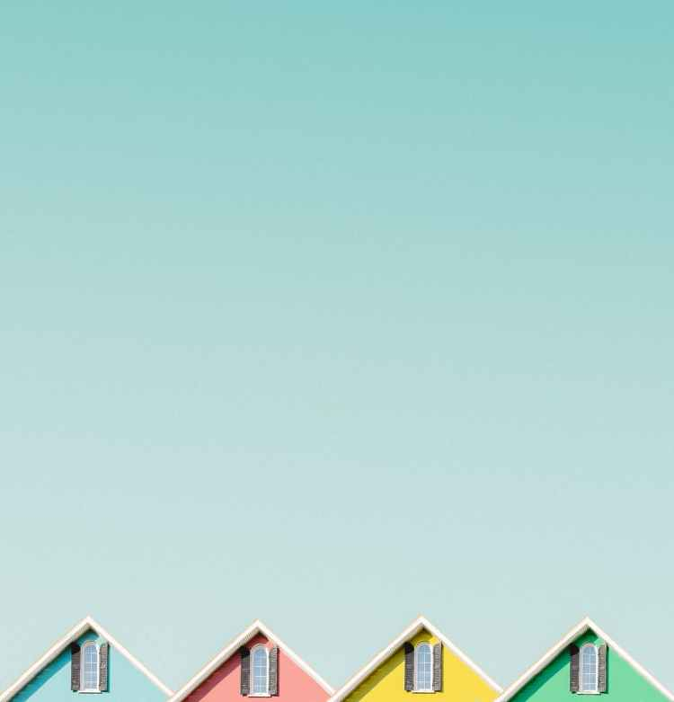 four colourful houses
