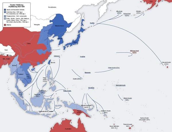 Karte des pazifischen Kriegsschauplatzes 1942