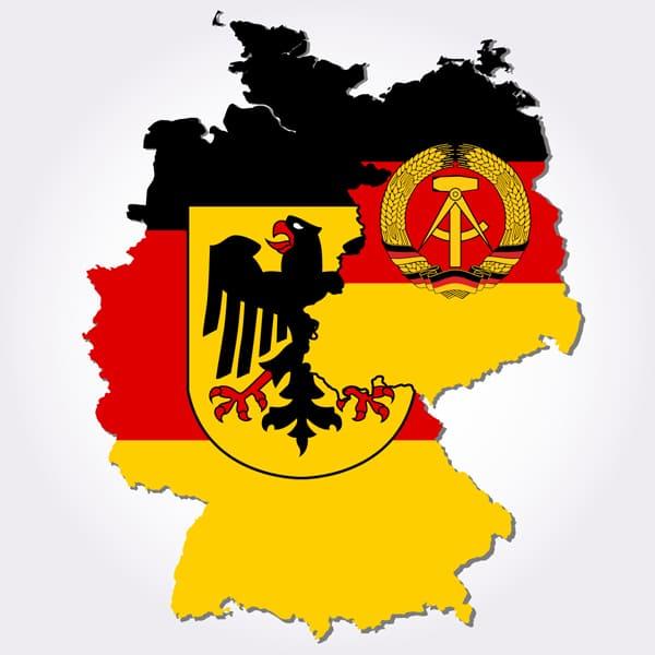 Karte der ehemaligen BRD und DDR