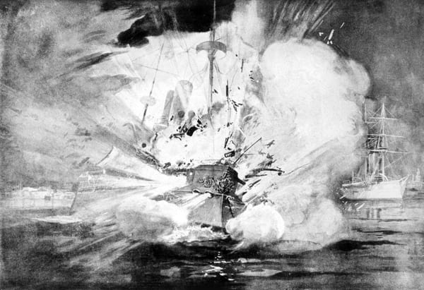 Illustration der Explosion der USS Maine