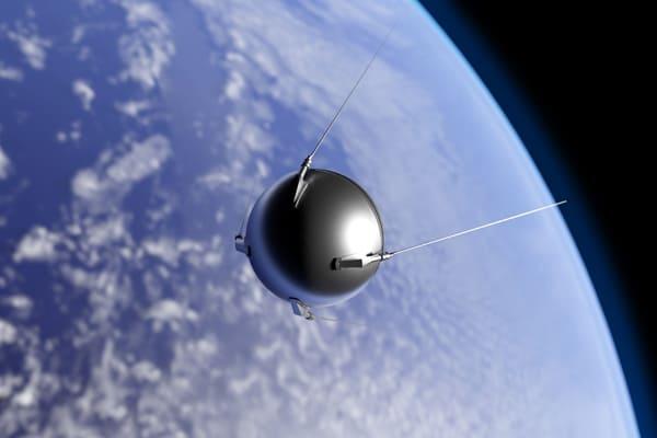 Grafik des ersten Satelitten Sputnik in der Umlaufbahn um die Erde