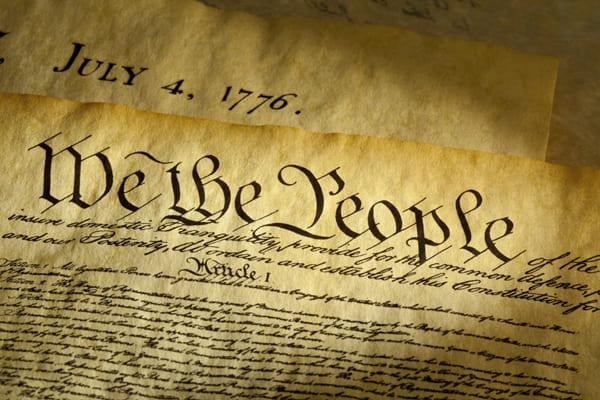 Grafik der ersten Seite der US-amerikanischen Verfassung