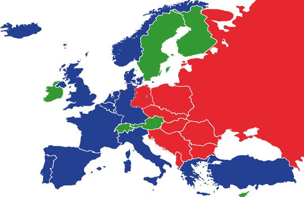 Karte von Europa im Kalten Krieg