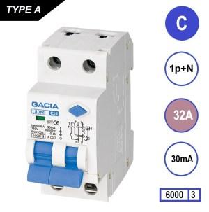aardlekautomaat 1p+n C 32Amp, 30mA, 6kA