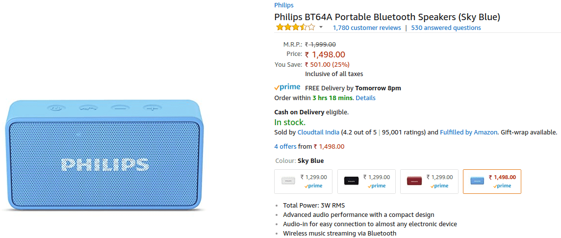 Philips BT64A - Bluetooth Speaker Deals - Amazon Great Indian Festival 2017