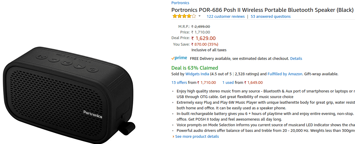 Portronics Posh II - Bluetooth Speaker Deals - Amazon Great Indian Festival 2017