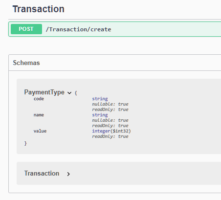Figure 3: PaymentType rendered as a complex object on Swagger