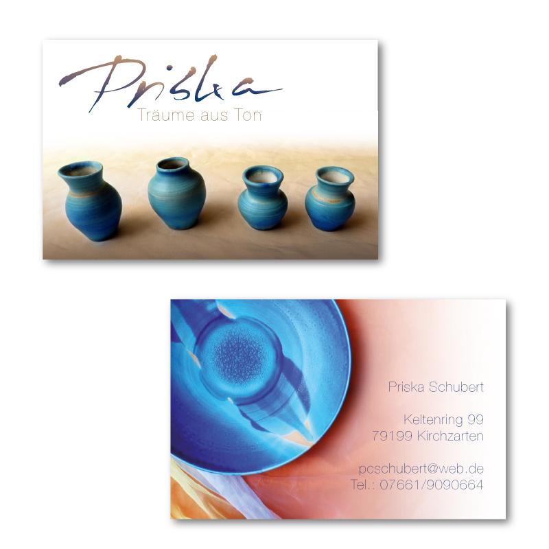 Visitenkarten für Priskas Tonarbeiten