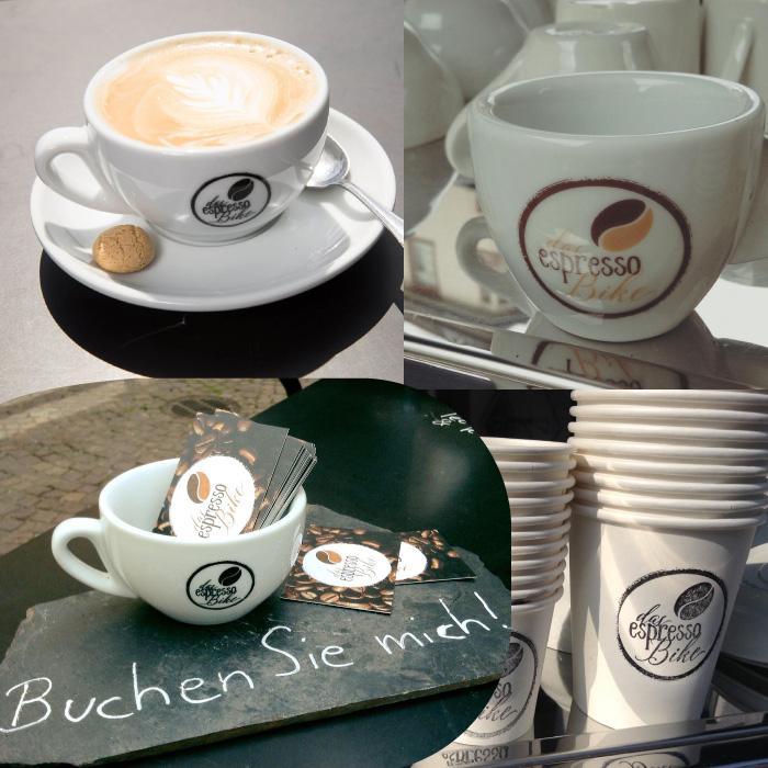 Tassen mit Logo vom espressoBike, gestempelte Becher und Visitenkarten