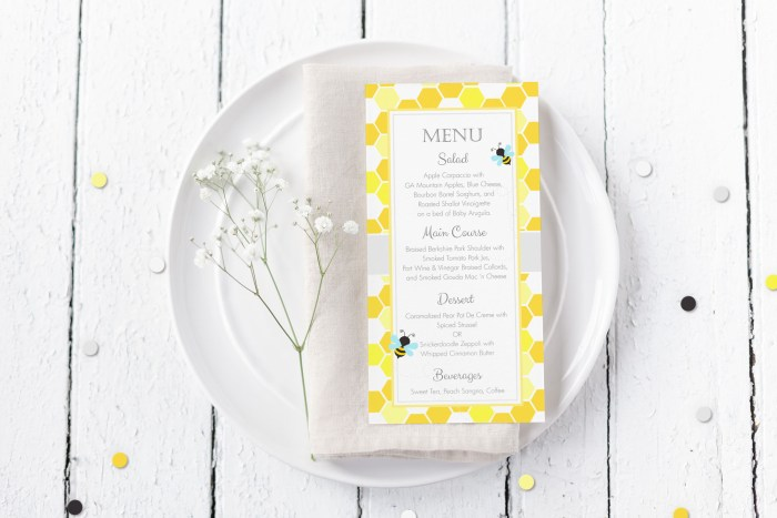 Printable Bumble Bee Honeycomb Menu Card
