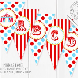 Printable Blue & Red Circus/Carnival Banner