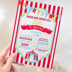 Printable Bright Red Circus/Carnival Invitation- Red Stripe