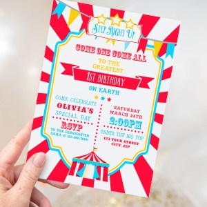 Printable Circus/Carnival Invitation- Bright Red